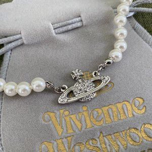 Jewelry - Vivienne Westwood Pearl Orb Choker Necklace SILVER